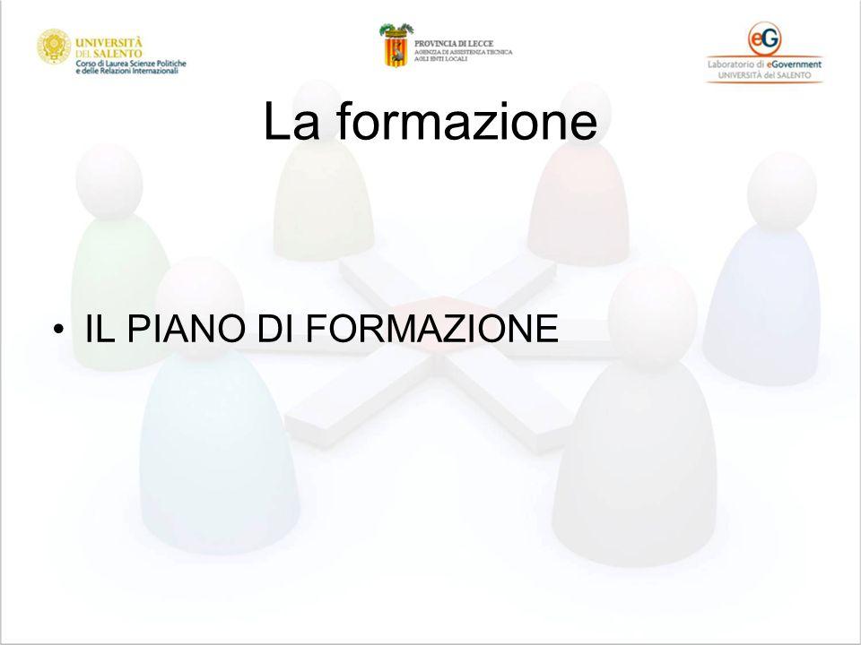 La formazione IL PIANO DI FORMAZIONE