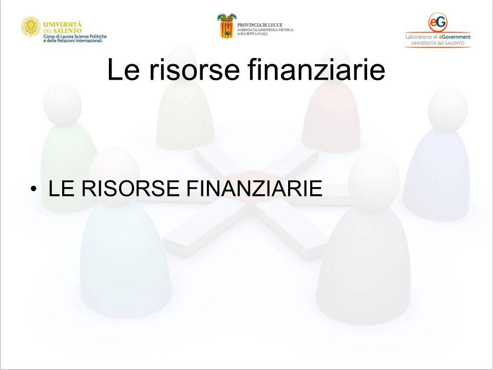 Le risorse finanziarie LE RISORSE FINANZIARIE