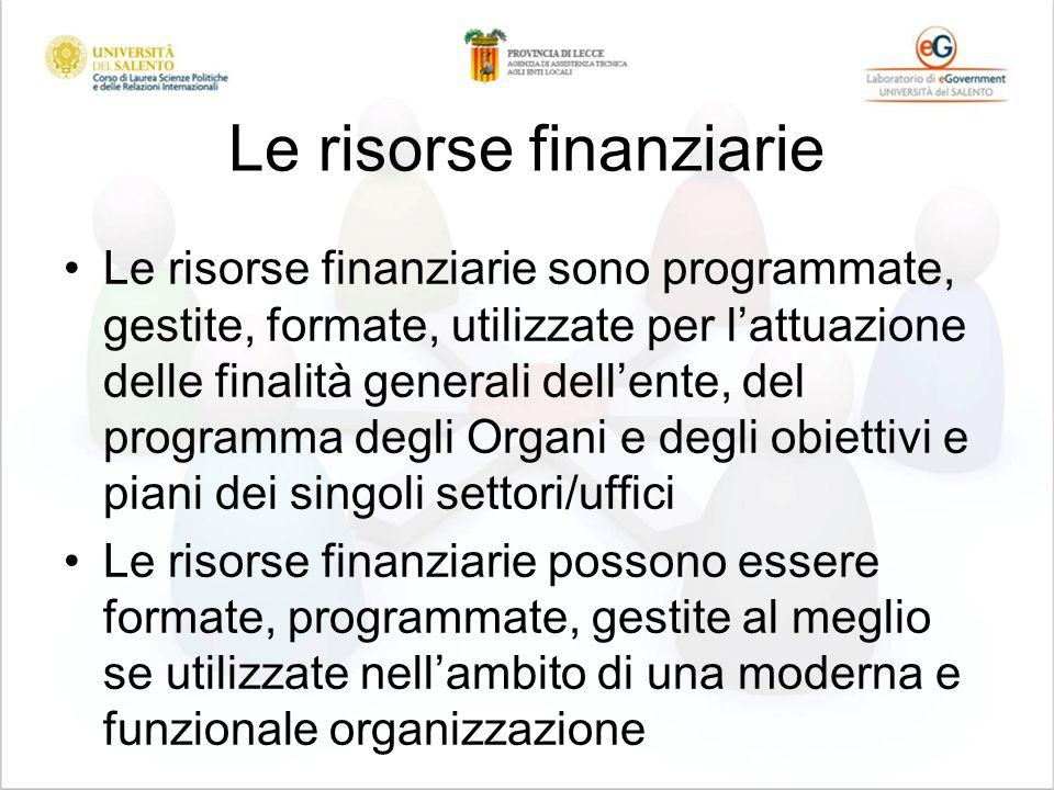 Le risorse finanziarie Le risorse finanziarie sono programmate, gestite, formate, utilizzate per lattuazione delle finalità generali dellente, del pro