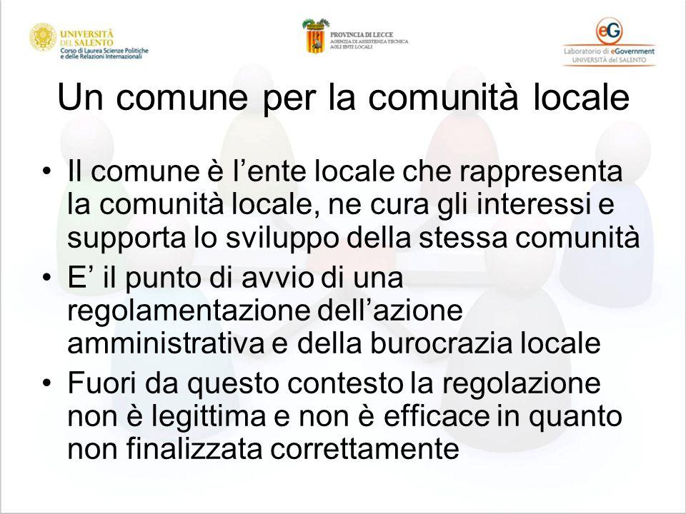 Un comune per la comunità locale Il comune è lente locale che rappresenta la comunità locale, ne cura gli interessi e supporta lo sviluppo della stess