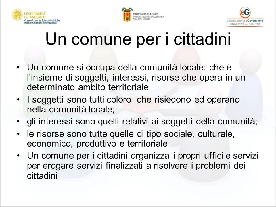 Un comune per i cittadini Un comune si occupa della comunità locale: che è linsieme di soggetti, interessi, risorse che opera in un determinato ambito