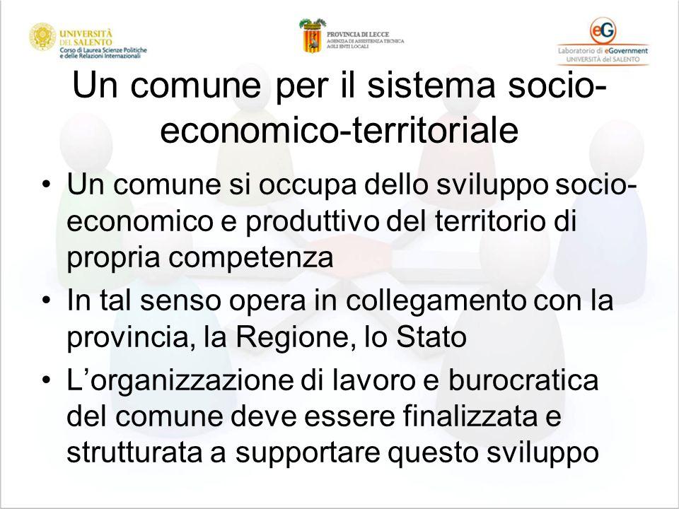 Un comune per il sistema socio- economico-territoriale Un comune si occupa dello sviluppo socio- economico e produttivo del territorio di propria comp