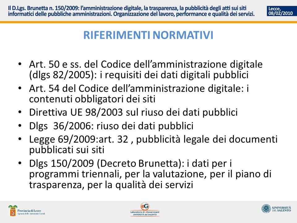 RIFERIMENTI NORMATIVI Art. 50 e ss. del Codice dellamministrazione digitale (dlgs 82/2005): i requisiti dei dati digitali pubblici Art. 54 del Codice