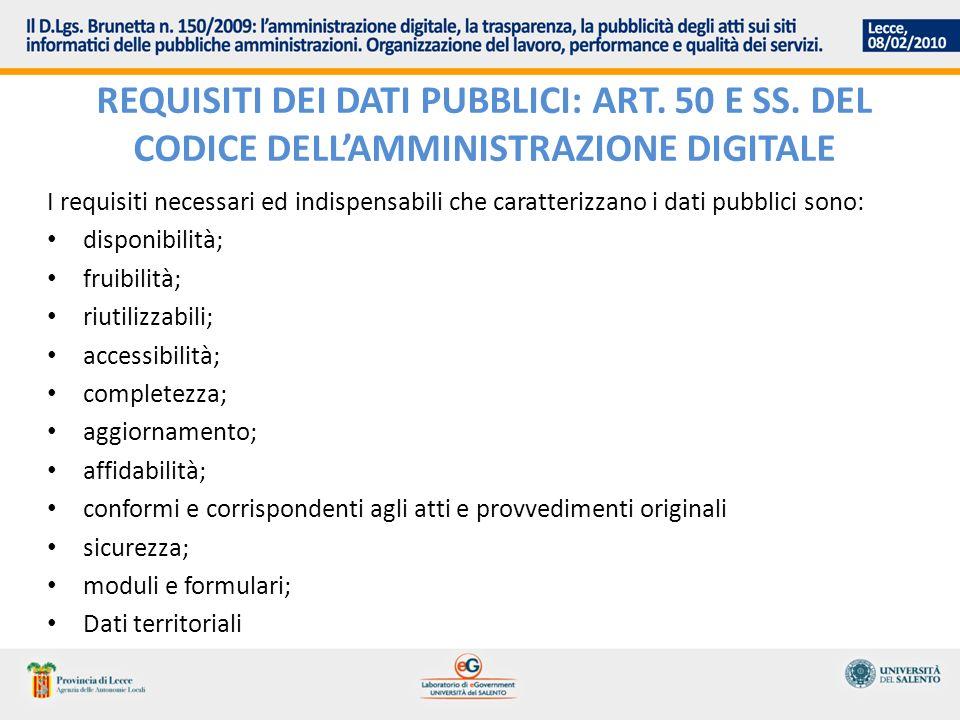 REQUISITI DEI DATI PUBBLICI: ART. 50 E SS. DEL CODICE DELLAMMINISTRAZIONE DIGITALE I requisiti necessari ed indispensabili che caratterizzano i dati p