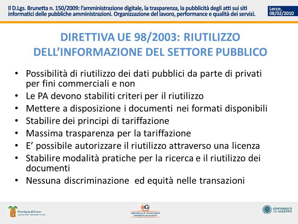 IL RECEPIMENTO IN ITALIA DELLA DIRETTIVA: DLGS 36/2006 Richiesta di riutilizzo Formati disponibili Tariffe Contenuti delle licenze standard per il riutilizzo Strumenti di ricerca di documenti disponibili Riutilizzo a fini commerciali da parte di PA Divieto di accordi in eslusiva Regole tecniche