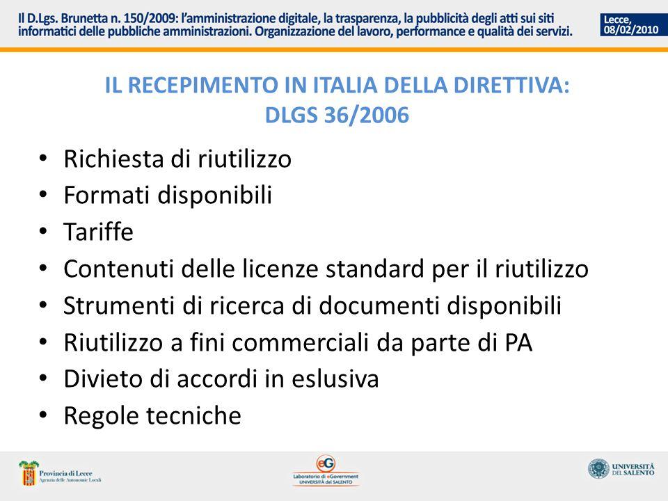 IL RECEPIMENTO IN ITALIA DELLA DIRETTIVA: DLGS 36/2006 Richiesta di riutilizzo Formati disponibili Tariffe Contenuti delle licenze standard per il riu