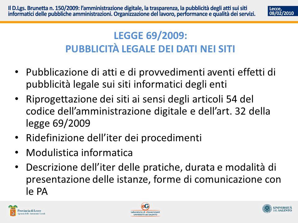 LEGGE 69/2009: PUBBLICITÀ LEGALE DEI DATI NEI SITI Pubblicazione di atti e di provvedimenti aventi effetti di pubblicità legale sui siti informatici d