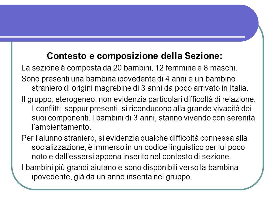 Contesto e composizione della Sezione: La sezione è composta da 20 bambini, 12 femmine e 8 maschi. Sono presenti una bambina ipovedente di 4 anni e un