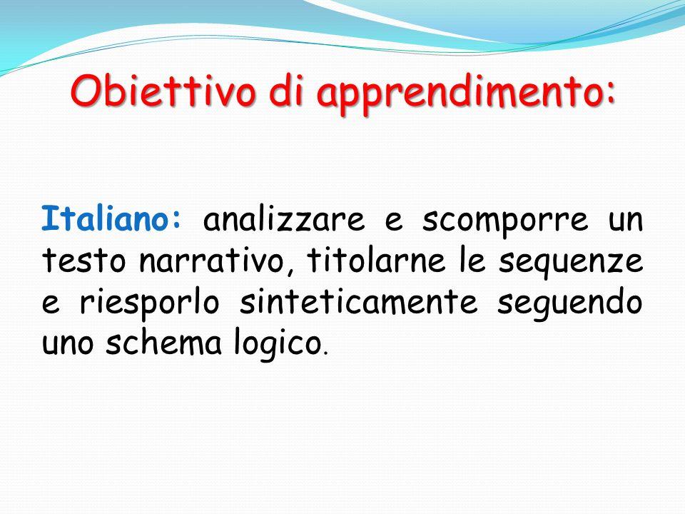 Obiettivo di apprendimento: Italiano: analizzare e scomporre un testo narrativo, titolarne le sequenze e riesporlo sinteticamente seguendo uno schema