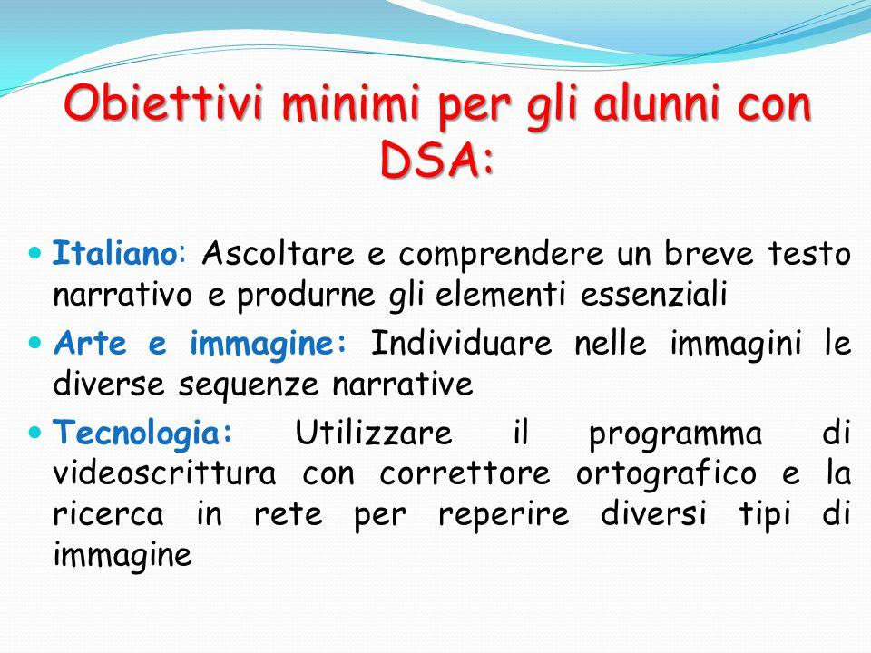 Obiettivi minimi per gli alunni con DSA: Italiano: Ascoltare e comprendere un breve testo narrativo e produrne gli elementi essenziali Arte e immagine