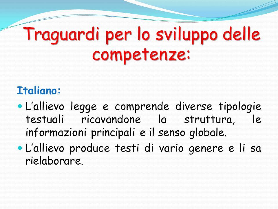 Traguardi per lo sviluppo delle competenze: Italiano: Lallievo legge e comprende diverse tipologie testuali ricavandone la struttura, le informazioni