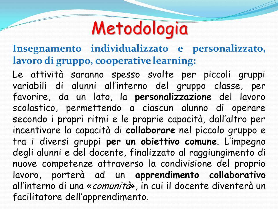 Metodologia Insegnamento individualizzato e personalizzato, lavoro di gruppo, cooperative learning: Le attività saranno spesso svolte per piccoli grup