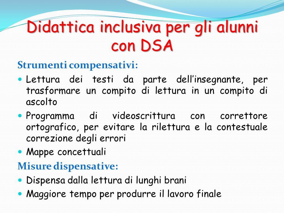 Didattica inclusiva per gli alunni con DSA Strumenti compensativi: Lettura dei testi da parte dellinsegnante, per trasformare un compito di lettura in