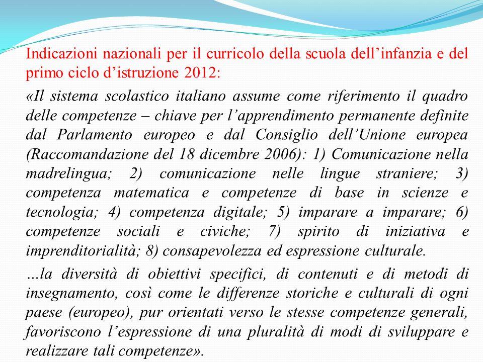 Indicazioni nazionali per il curricolo della scuola dellinfanzia e del primo ciclo distruzione 2012: «Il sistema scolastico italiano assume come rifer