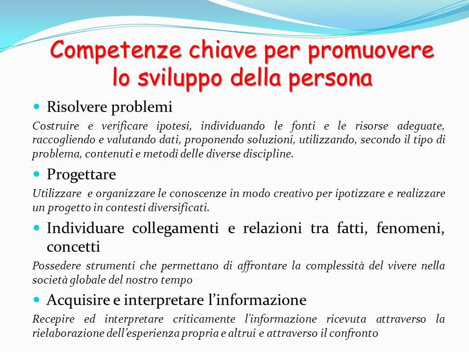 Competenze chiave per promuovere lo sviluppo della persona Risolvere problemi Costruire e verificare ipotesi, individuando le fonti e le risorse adegu