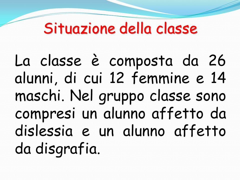 Situazione della classe La classe è composta da 26 alunni, di cui 12 femmine e 14 maschi. Nel gruppo classe sono compresi un alunno affetto da disless