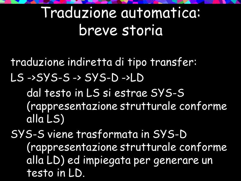 Traduzione automatica: breve storia traduzione indiretta di tipo transfer: LS ->SYS-S -> SYS-D ->LD dal testo in LS si estrae SYS-S (rappresentazione
