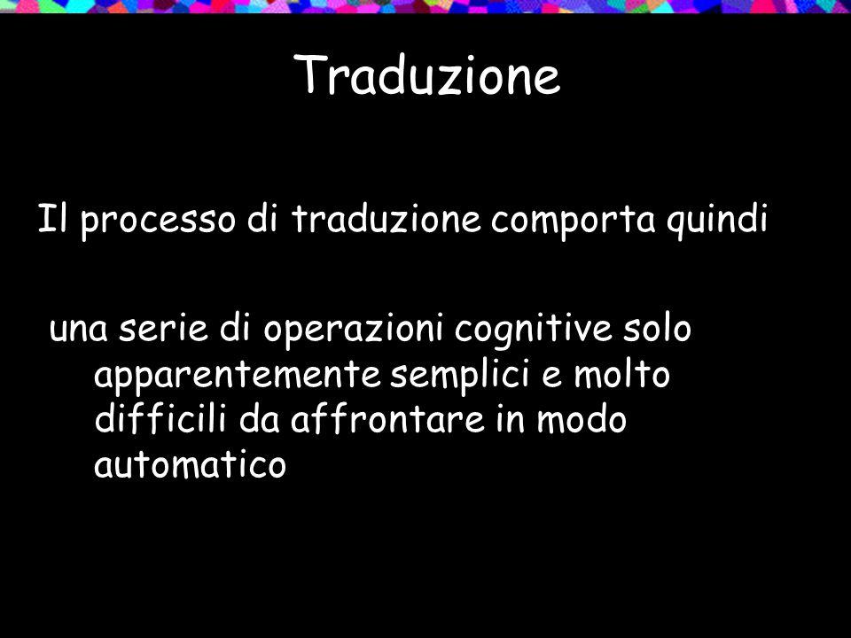 Traduzione Il processo di traduzione comporta quindi una serie di operazioni cognitive solo apparentemente semplici e molto difficili da affrontare in