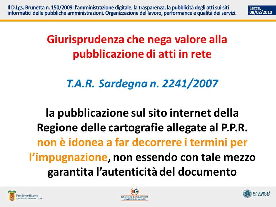Giurisprudenza che nega valore alla pubblicazione di atti in rete T.A.R.