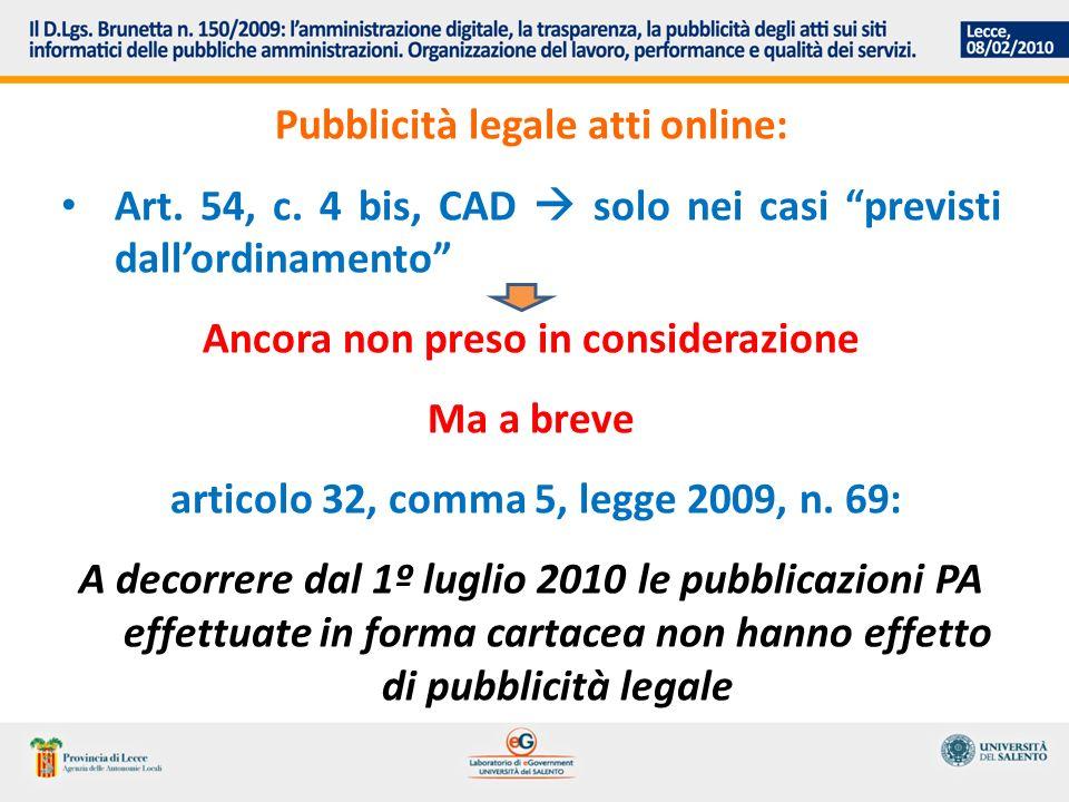 Pubblicità legale atti online: Art. 54, c.