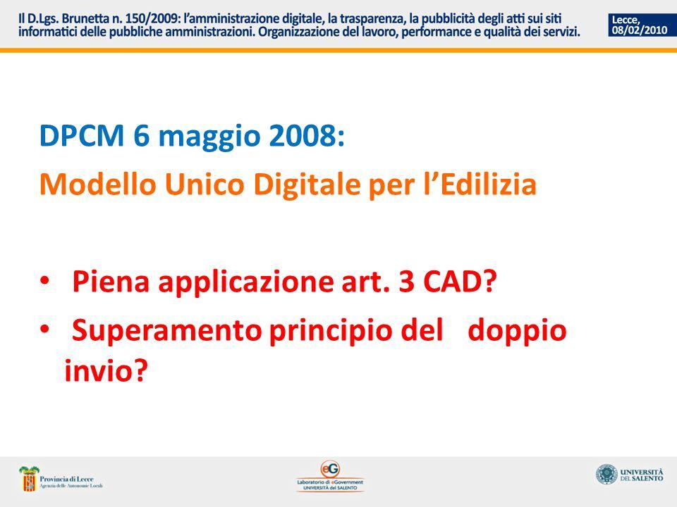 DPCM 6 maggio 2008: Modello Unico Digitale per lEdilizia Piena applicazione art.