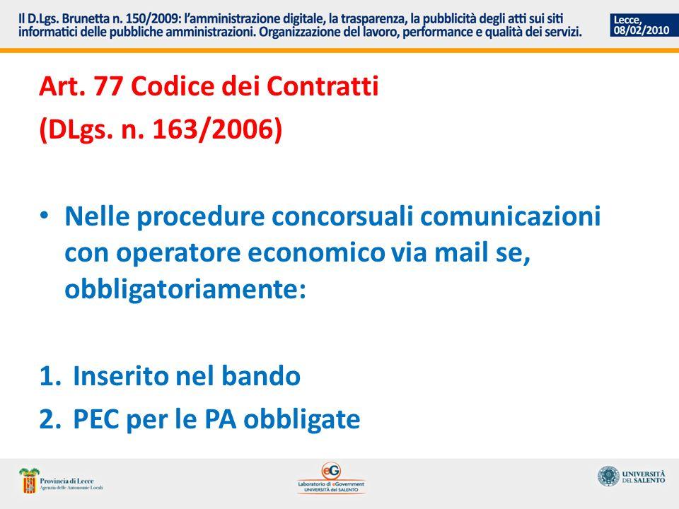 Art. 77 Codice dei Contratti (DLgs. n.