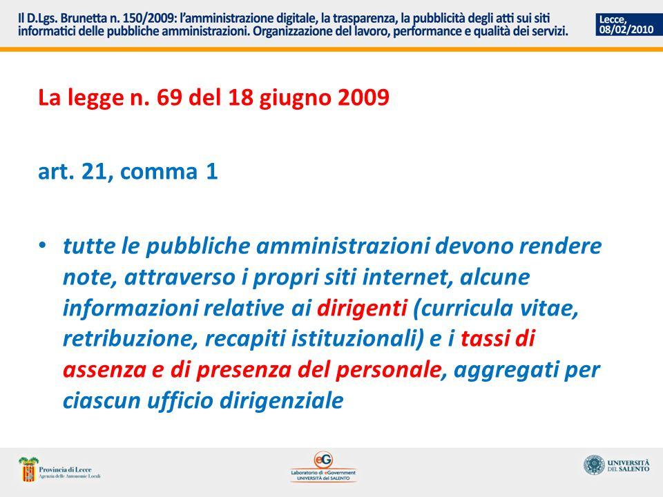 La legge n. 69 del 18 giugno 2009 art.
