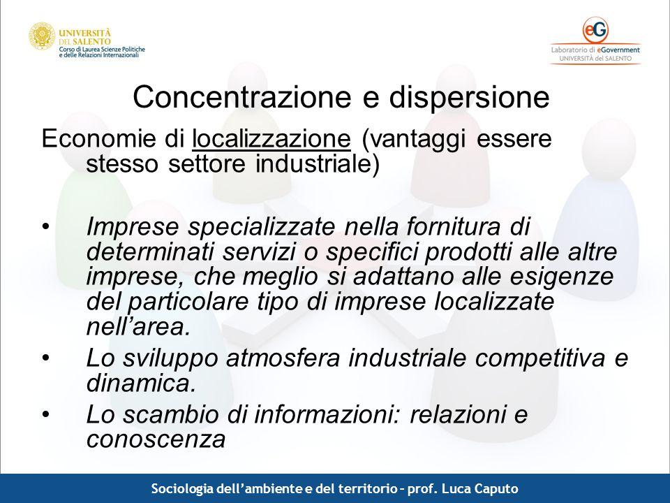 Comunicazione pubblica - Luca Caputo Concentrazione e dispersione Economie di localizzazione (vantaggi essere stesso settore industriale) Imprese spec