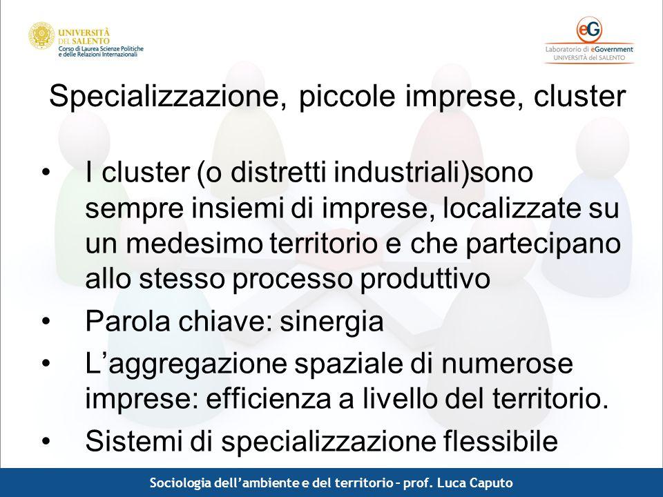 Comunicazione pubblica - Luca Caputo Specializzazione, piccole imprese, cluster I cluster (o distretti industriali)sono sempre insiemi di imprese, loc
