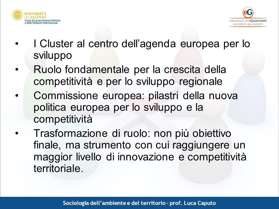 Comunicazione pubblica - Luca Caputo I Cluster al centro dellagenda europea per lo sviluppo Ruolo fondamentale per la crescita della competitività e p