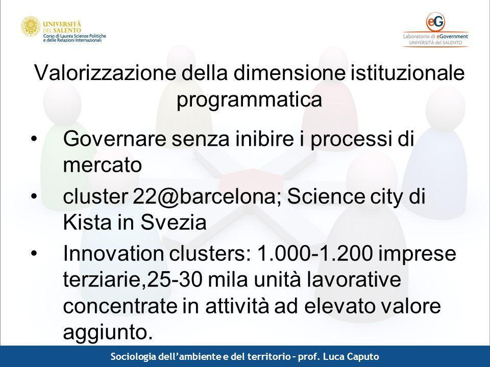 Comunicazione pubblica - Luca Caputo Valorizzazione della dimensione istituzionale programmatica Governare senza inibire i processi di mercato cluster