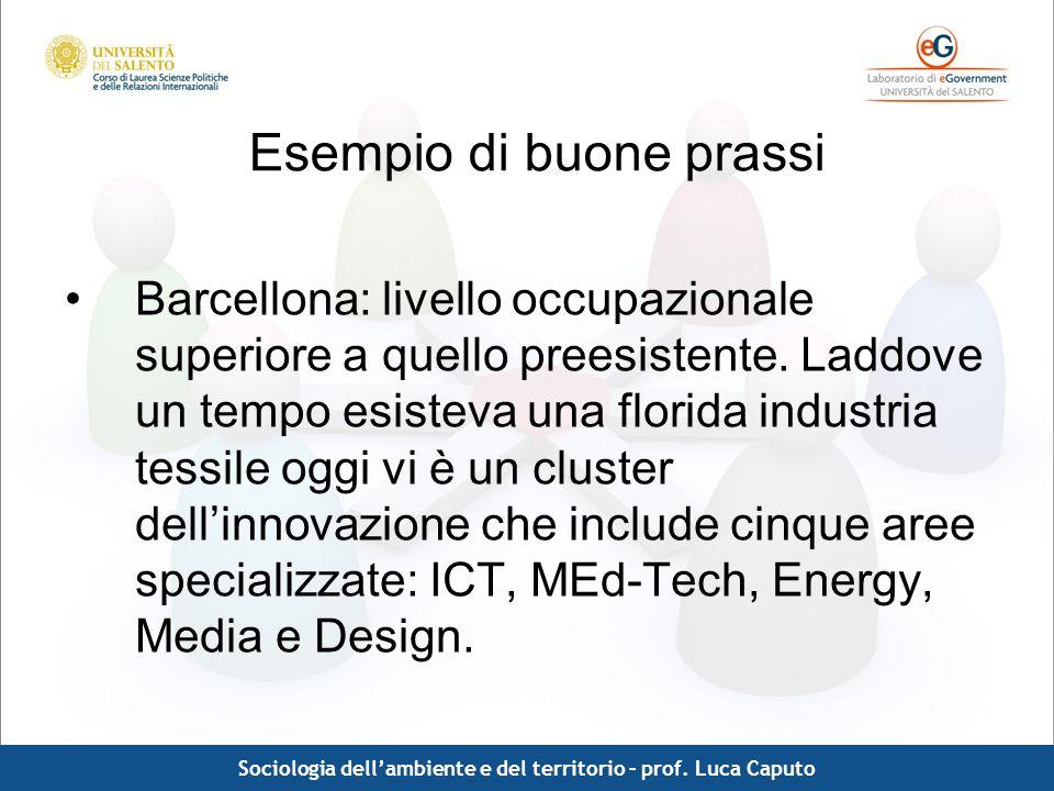 Comunicazione pubblica - Luca Caputo Esempio di buone prassi Barcellona: livello occupazionale superiore a quello preesistente. Laddove un tempo esist