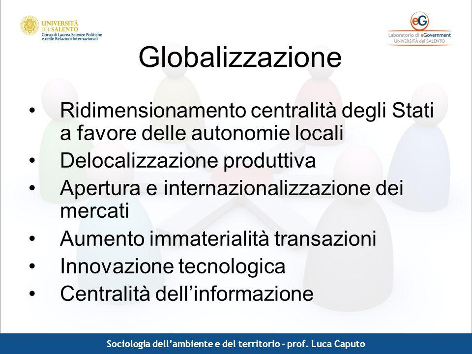 Comunicazione pubblica - Luca Caputo Globalizzazione Le sfide più importanti connesse con la globalizzazione non si esauriscono dentro un modello di globalizzazione per sé, ma nella capacità di declinare su scala globale altri problemi, di norma strettamente collegati ad uno specifico contesto territoriale.