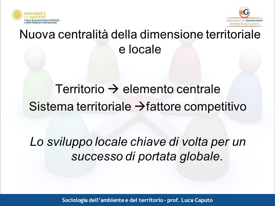 Comunicazione pubblica - Luca Caputo Nuova centralità della dimensione territoriale e locale Territorio elemento centrale Sistema territoriale fattore