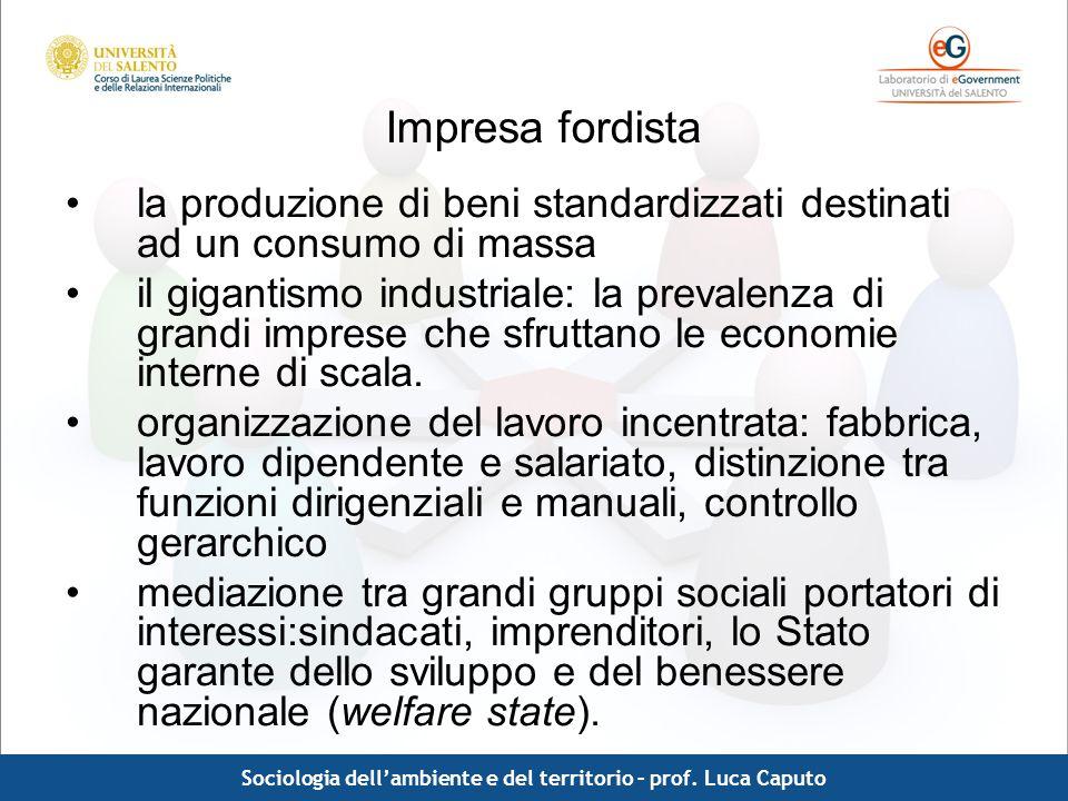 Comunicazione pubblica - Luca Caputo Impresa fordista la produzione di beni standardizzati destinati ad un consumo di massa il gigantismo industriale: