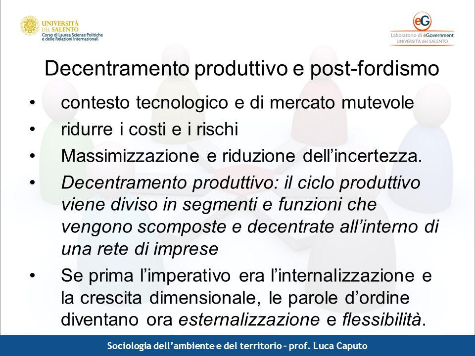 Comunicazione pubblica - Luca Caputo Decentramento produttivo e post-fordismo contesto tecnologico e di mercato mutevole ridurre i costi e i rischi Ma