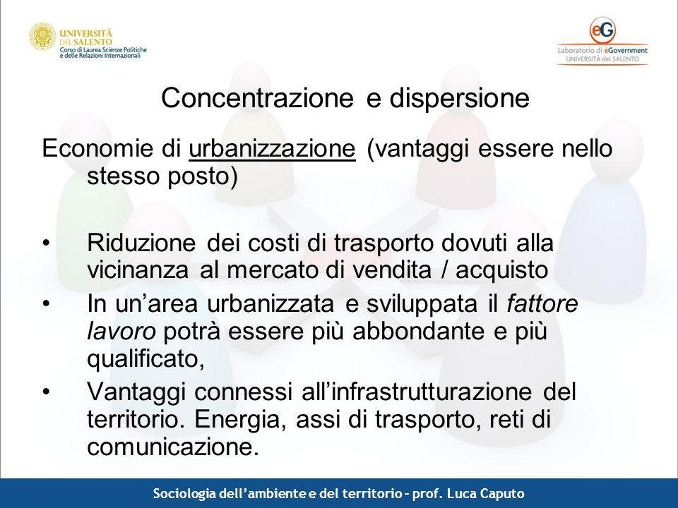 Comunicazione pubblica - Luca Caputo Concentrazione e dispersione Economie di urbanizzazione (vantaggi essere nello stesso posto) Riduzione dei costi