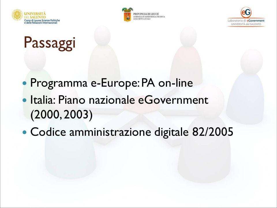 Passaggi Programma e-Europe: PA on-line Italia: Piano nazionale eGovernment (2000, 2003) Codice amministrazione digitale 82/2005