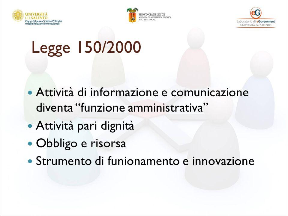 Legge 150/2000 Attività di informazione e comunicazione diventa funzione amministrativa Attività pari dignità Obbligo e risorsa Strumento di funionamento e innovazione