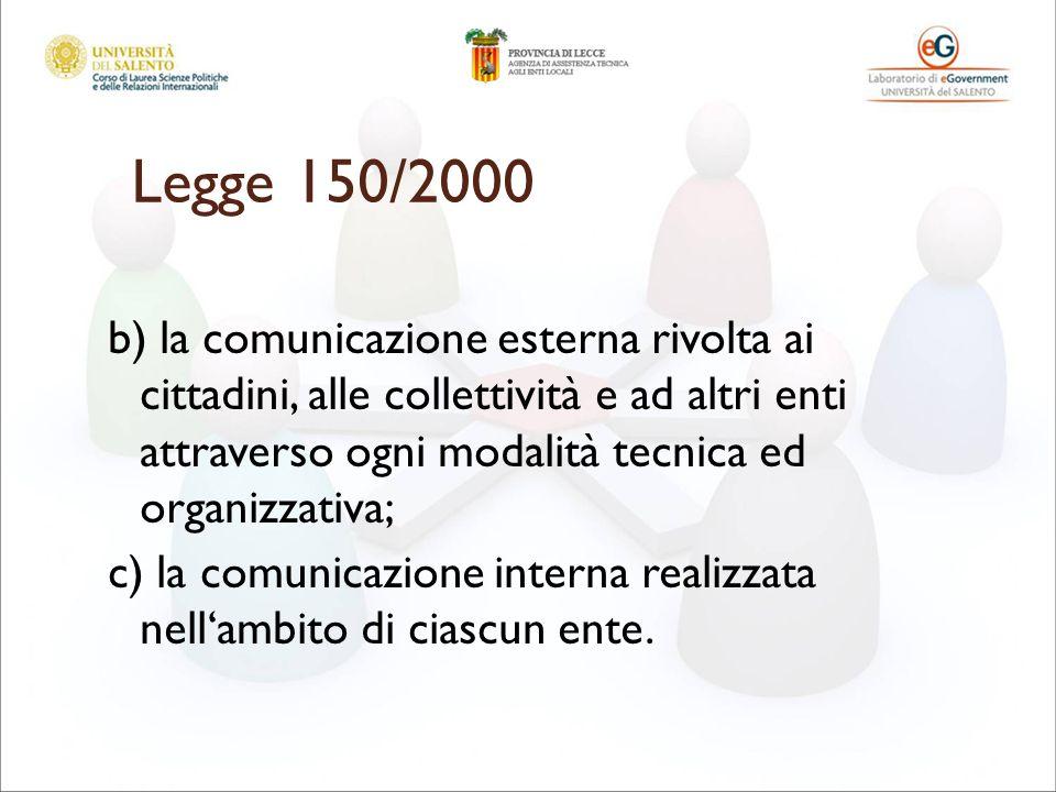 Legge 150/2000 b) la comunicazione esterna rivolta ai cittadini, alle collettività e ad altri enti attraverso ogni modalità tecnica ed organizzativa; c) la comunicazione interna realizzata nellambito di ciascun ente.