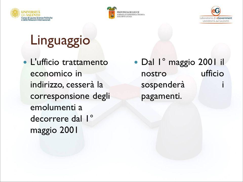 Linguaggio L'ufficio trattamento economico in indirizzo, cesserà la corresponsione degli emolumenti a decorrere dal 1° maggio 2001 Dal 1° maggio 2001