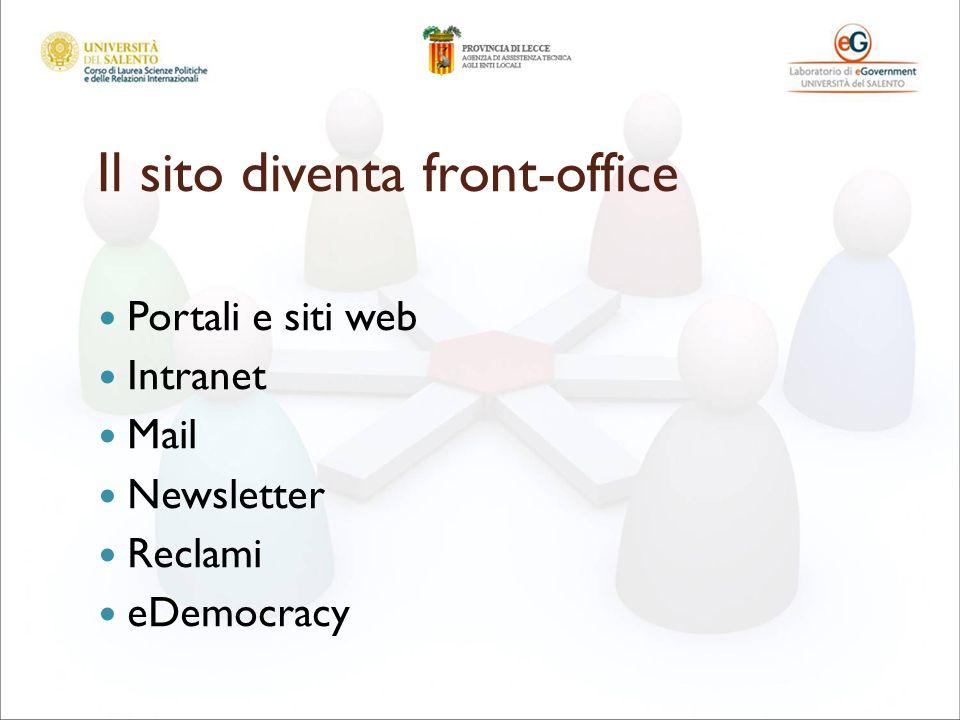 Il sito diventa front-office Portali e siti web Intranet Mail Newsletter Reclami eDemocracy