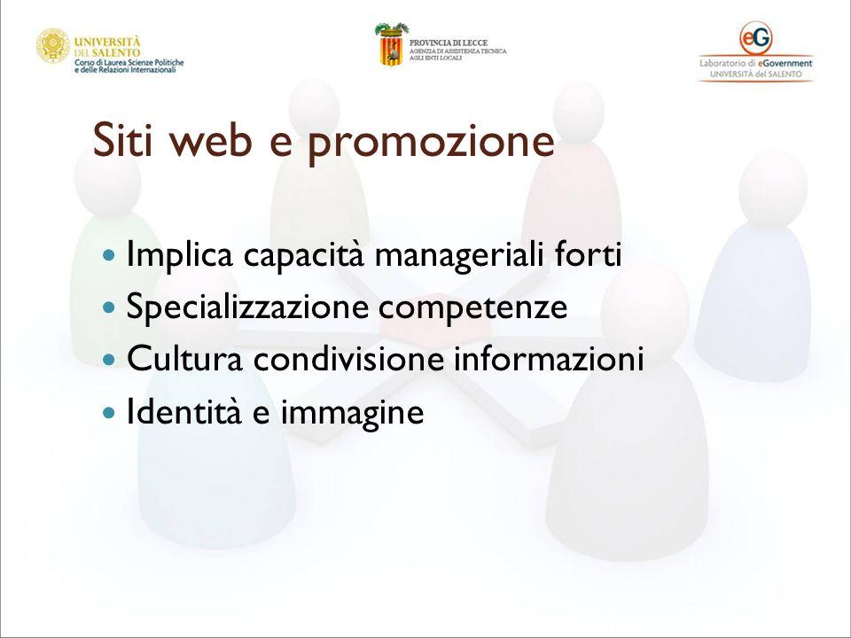 Siti web e promozione Implica capacità manageriali forti Specializzazione competenze Cultura condivisione informazioni Identità e immagine