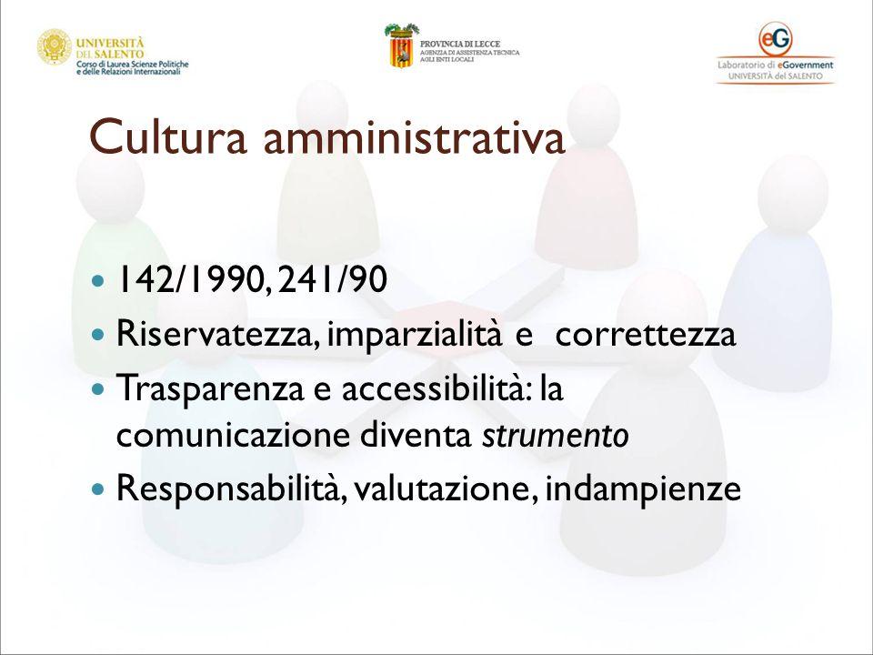 Cultura amministrativa 142/1990, 241/90 Riservatezza, imparzialità e correttezza Trasparenza e accessibilità: la comunicazione diventa strumento Responsabilità, valutazione, indampienze