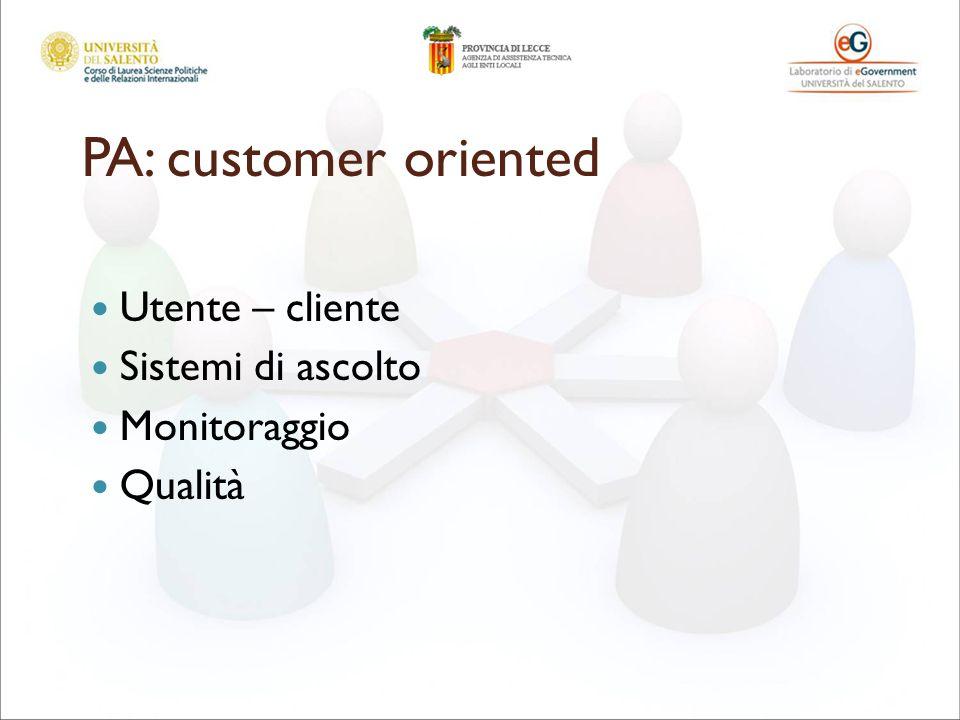 PA: customer oriented Utente – cliente Sistemi di ascolto Monitoraggio Qualità