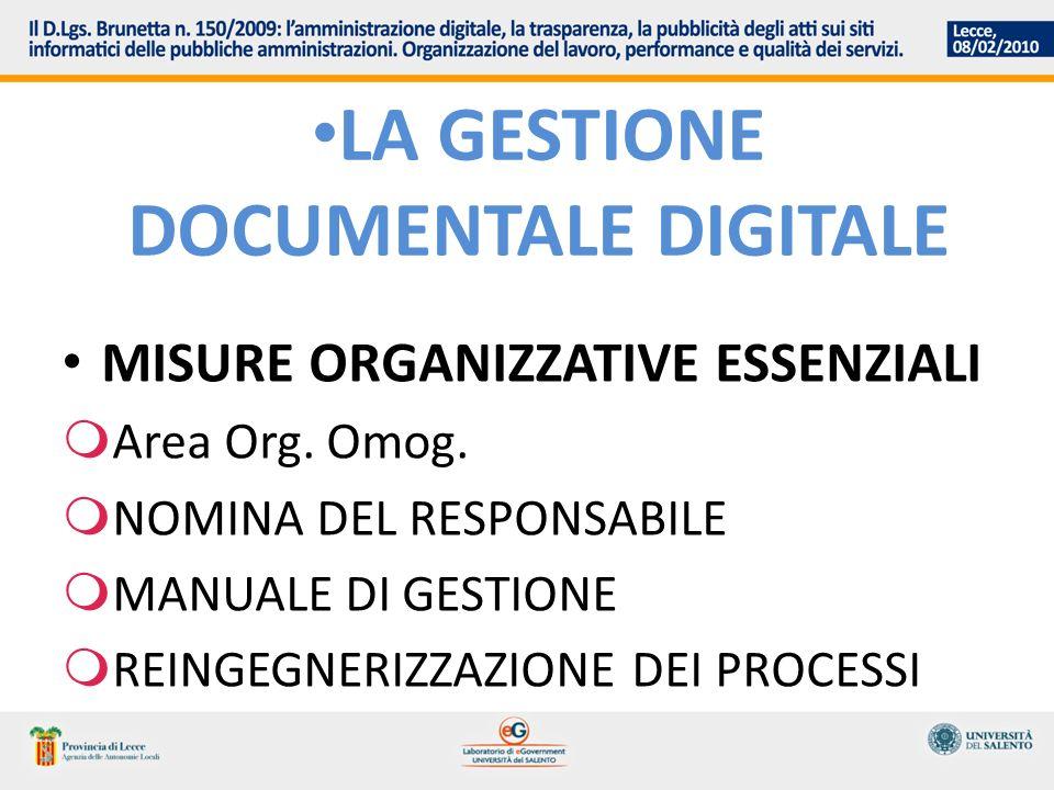 LA GESTIONE DOCUMENTALE DIGITALE MISURE ORGANIZZATIVE ESSENZIALI Area Org. Omog. NOMINA DEL RESPONSABILE MANUALE DI GESTIONE REINGEGNERIZZAZIONE DEI P