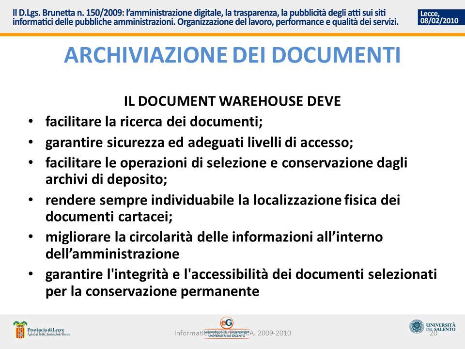 02/02/2014Informatica della PA - A.A. 2009-201020 ARCHIVIAZIONE DEI DOCUMENTI IL DOCUMENT WAREHOUSE DEVE facilitare la ricerca dei documenti; garantir