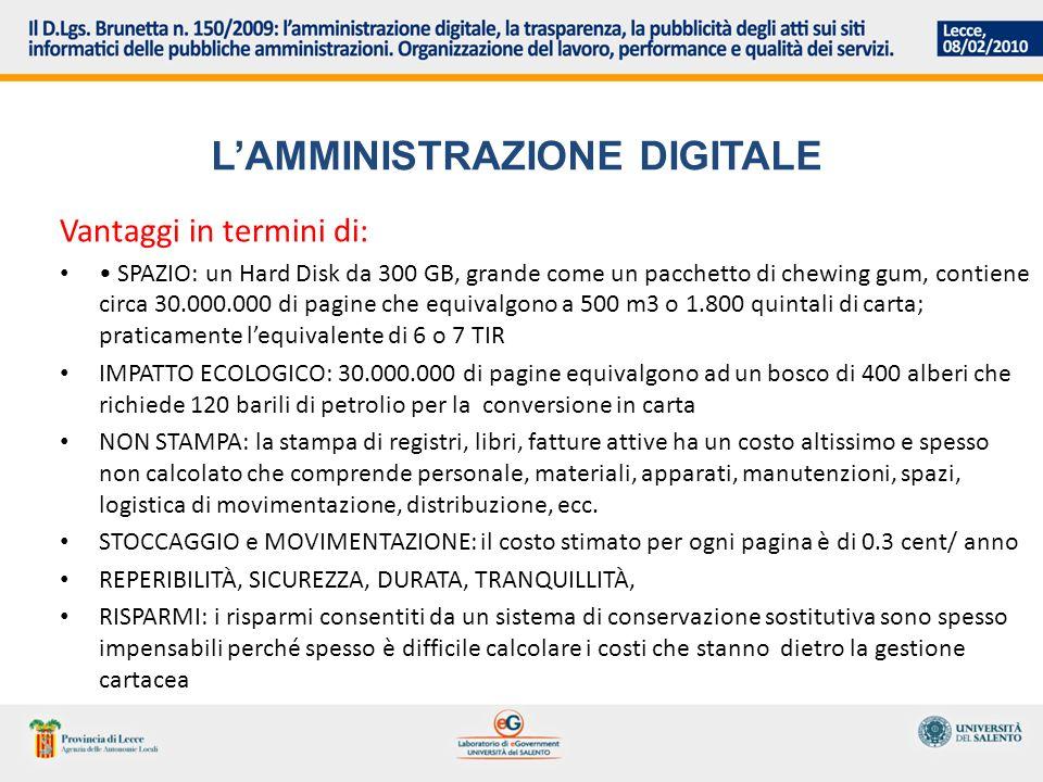 LAMMINISTRAZIONE DIGITALE Vantaggi in termini di: SPAZIO: un Hard Disk da 300 GB, grande come un pacchetto di chewing gum, contiene circa 30.000.000 d