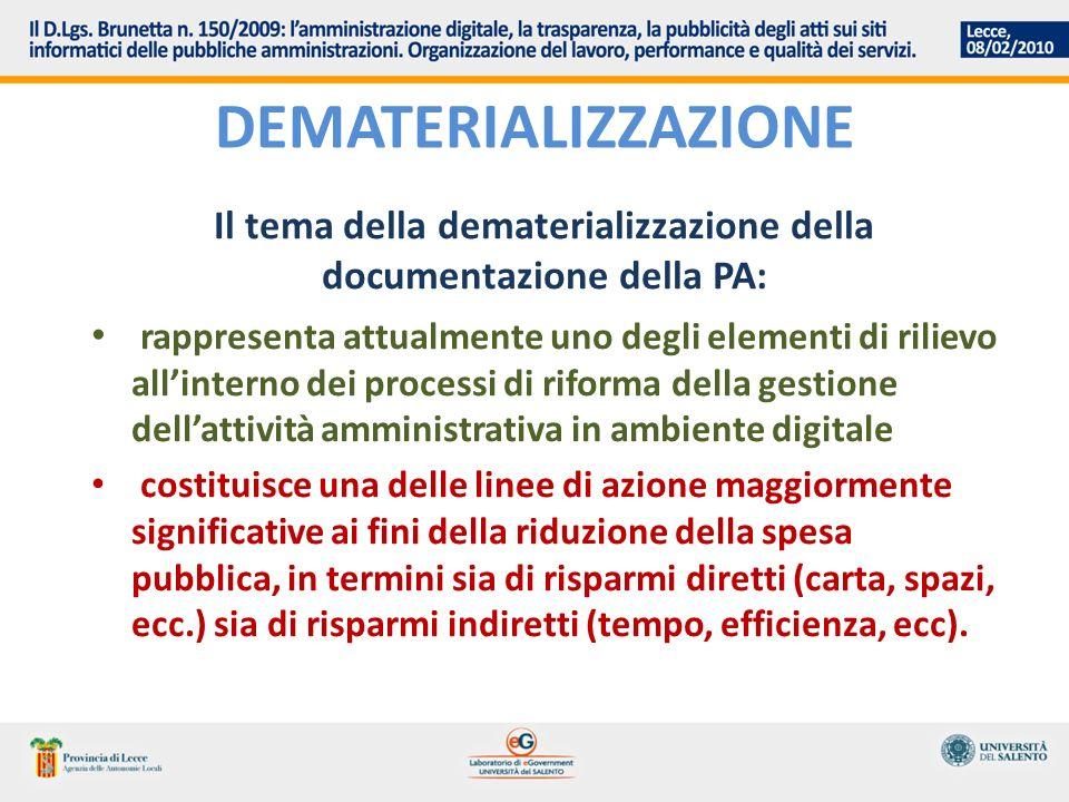 DEMATERIALIZZAZIONE Il tema della dematerializzazione della documentazione della PA: rappresenta attualmente uno degli elementi di rilievo allinterno