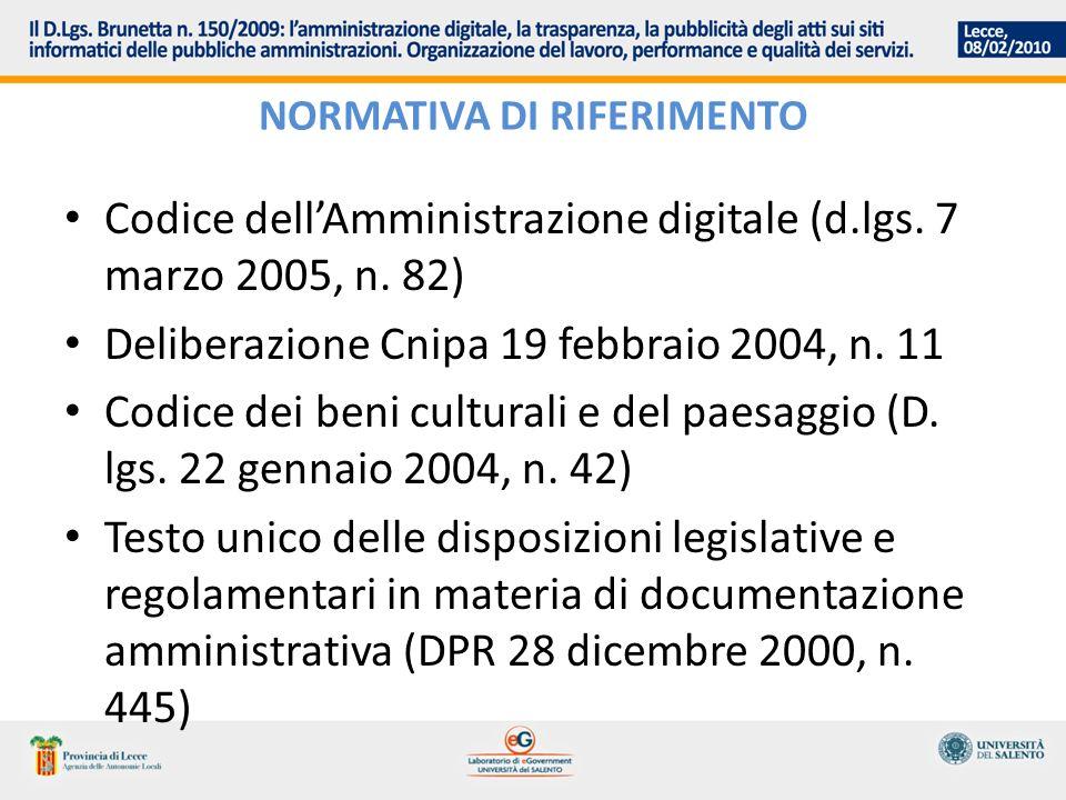 NORMATIVA DI RIFERIMENTO Codice dellAmministrazione digitale (d.lgs. 7 marzo 2005, n. 82) Deliberazione Cnipa 19 febbraio 2004, n. 11 Codice dei beni
